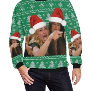 Angry Woman Yelling Ugly Christmas Sweater